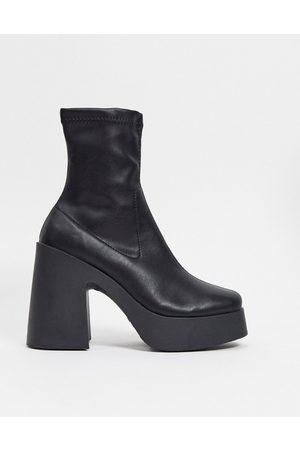 ASOS Donna Stivaletti - Elsie - Stivaletti a calza neri con tacco alto in ecopelle PU
