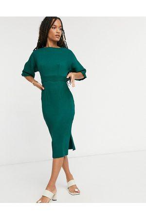 Closet Vestito longuette a coste allacciato in vita smeraldo