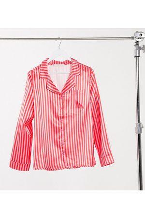 Outrageous Fortune Camicia da notte in raso rosa rigato