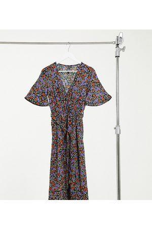Influence Donna Vestiti longuette - Vestito midi a portafoglio con spacco e stampa a fiori