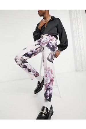 Twisted Tailor Pantaloni da abito slim con stampa a fiori in lino polvere