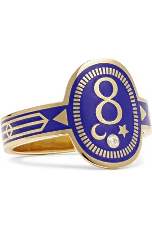 Foundrae Karma 18-Karat Gold, Enamel and Diamond Signet Ring