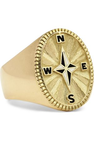 Foundrae Course Correction 18-Karat and Enamel Signet Ring