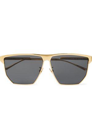 Bottega Veneta Uomo Occhiali da sole - Square-Frame Silver-Tone Metal Sunglasses