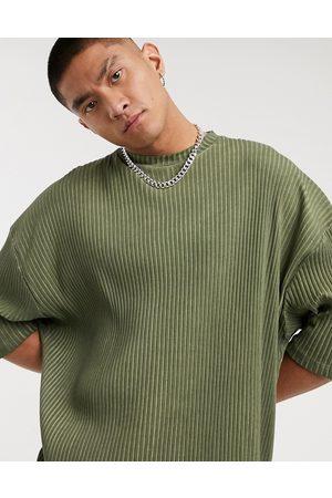 ASOS T-shirt oversize taglio lungo a maniche corte kaki a coste lavaggio a olio
