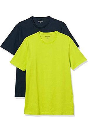 Amazon 2-Pack Slim-Fit Crewneck T-Shirt Fashion-t-Shirts, Lime/Dark Navy, US XXL