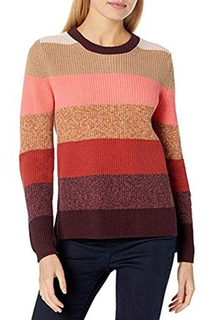 Goodthreads Cotton Half-Cardigan Stitch Crewneck Sweater Sweaters, Warm Marl Multi Stripe, XL