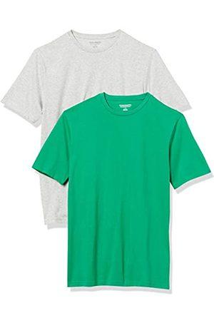 Amazon Essentials 2-Pack Slim-Fit Crewneck T-Shirt Fashion-t-Shirts, Bright Green/Light Heather Grey, US