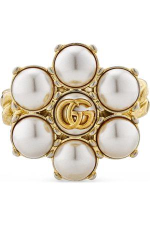Gucci Anello con Doppia G e perle