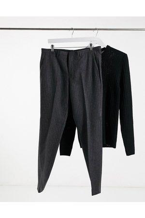 Shelby & Sons Pantaloni da abito slim a righe antracite
