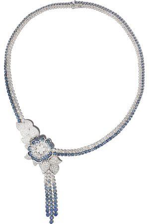 LEO PIZZO Collana Flora in oro bianco 18kt con diamanti e zaffiri
