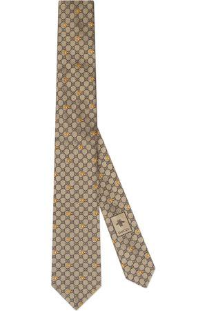 Gucci Uomo Cravatte - Cravatta in seta con api e motivo GG