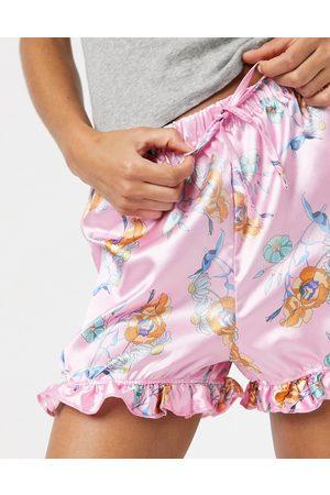 Outrageous Fortune Pantaloncini da notte in raso con volant rosa a fiori