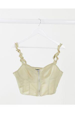 Missguided Top a corsetto color champagne con zip davanti-Crema