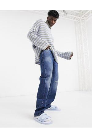 ASOS Jeans classici anni '90 lavaggio scuro con abrasioni