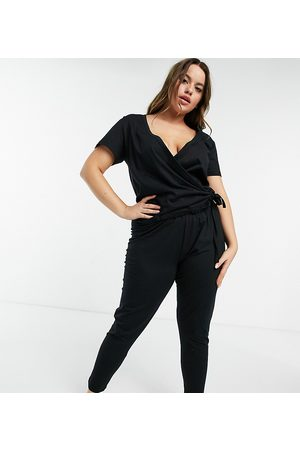 ASOS Curve ASOS DESIGN Curve - Leggings del pigiama Mix & Match in jersey neri