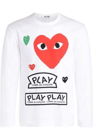 Comme des Garçons T-Shirt a manica lunga bianca con cuore e loghi