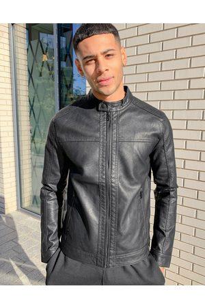 Jack & Jones Essentials - Giacca biker in pelle sintetica nera