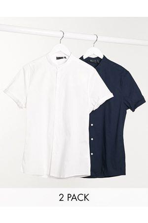 ASOS Confezione da 2 camicie skinny con collo serafino bianca/nera