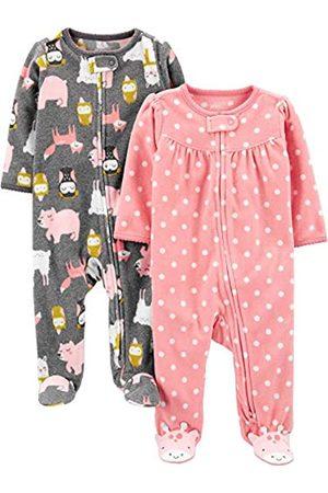 Simple Joys by Carter's Confezione da 2 Tasche in Pile con Cerniera a 2 Vie, per Dormire e Giocare. Infant-And-Toddler-Sleepers, Punti/Animali, 6-9 Months