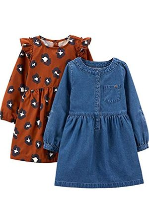 Simple Joys by Carter's Set da 2 Vestiti a Maniche Lunghe Infant-And-Toddler-Playwear-Dresses, Stampa Chambray/Ghepardo, US 5T , Pacco da 2