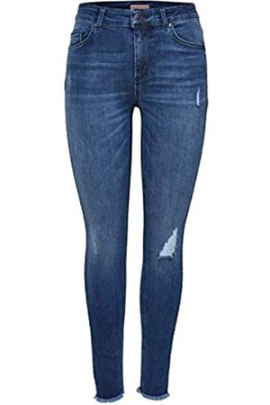 Only NOS Onlblush Mid Ank Raw Jeans Rea2077 Noos, Jeans Skinny Donna, Blu , W36/L30
