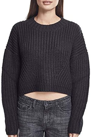 Urban classics Ladies Wide Oversize Sweater Felpa, Nero , Small Donna