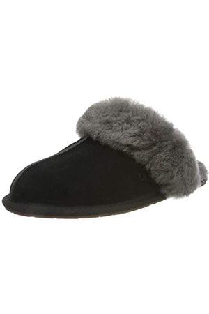 UGG Female Scuffette II Slipper, Black/Grey, 4