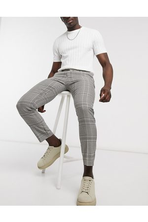 River Island Pantaloni eleganti skinny color pietra a quadri- pietra