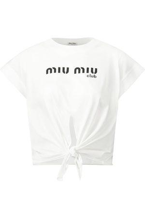 Miu Miu Top in cotone con logo