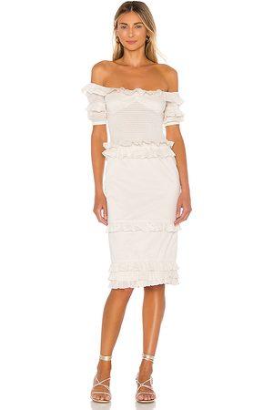 MAJORELLE Ollie Midi Dress in - Ivory. Size L (also in M, S, XL, XS, XXS).