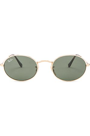 Ray-Ban Oval Flat in - Metallic Gold. Size all.