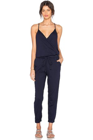 Bobi Supreme Jersey Tied Waist V Neck Jumpsuit in - Navy. Size L (also in XS, S, M).