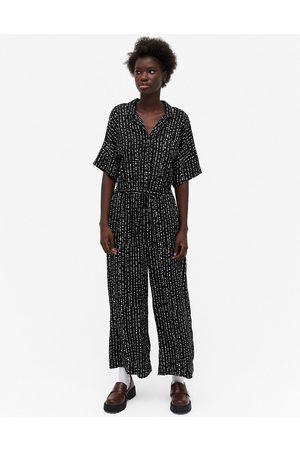Monki Kalolo - Tuta jumpsuit nera e a maniche corte