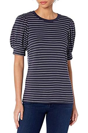 Daily Ritual Supersoft Terry Puff-Sleeve Top Shirts, Navy/White Stripe, US S