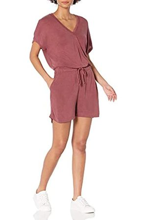 Daily Ritual Sandwashed Modal Blend Short-Sleeve Overlap Romper Shorts, Brick, US XXL