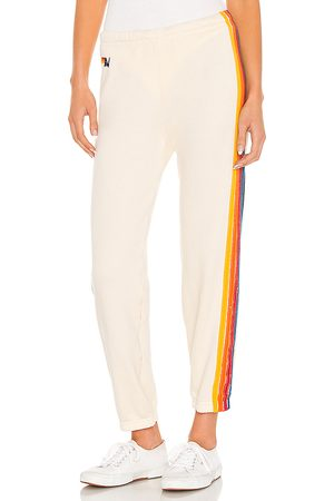 AVIATOR NATION 5 Stripe Sweatpant in - Ivory. Size L (also in XS, S, M).