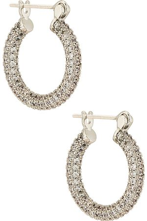 Luv AJ Pave Baby Skinny Amalfi Hoops in - Metallic . Size all.