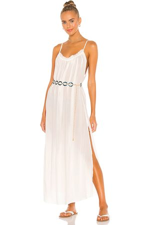 Indah Yasmine Solid Gathered Neckline Sundress Maxi in - . Size L (also in S, XS, M).