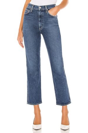AGOLDE Pinch Waist High Rise Kick Flare in - Blue. Size 23 (also in 24, 25, 26, 27, 28, 29, 30, 31, 32).