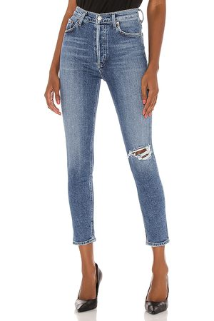 AGOLDE Donna Nico High Rise Slim in - Blue. Size 27 (also in 28, 29, 30, 31, 32).