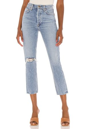 AGOLDE Riley High Rise Straight Crop in - Blue. Size 24 (also in 25, 26, 27, 28, 29, 30, 31).