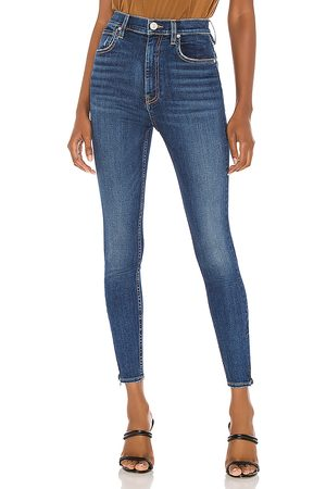 Hudson Donna Centerfold High Rise Super Skinny in - Blue. Size 26 (also in 27, 30, 29).