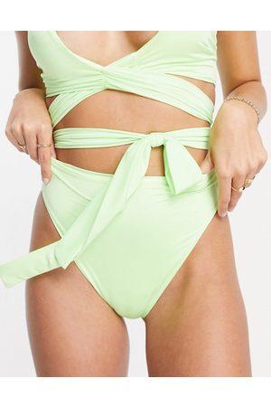 ASOS Slip bikini a vita alta in fluo sbiadito