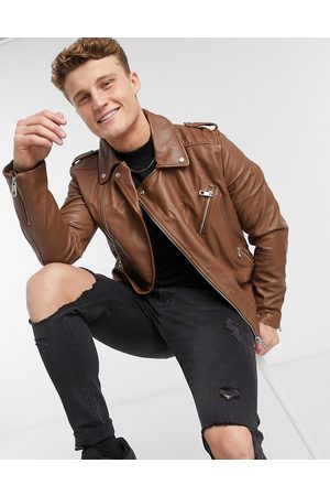 ASOS Giacca biker in pelle color cuoio