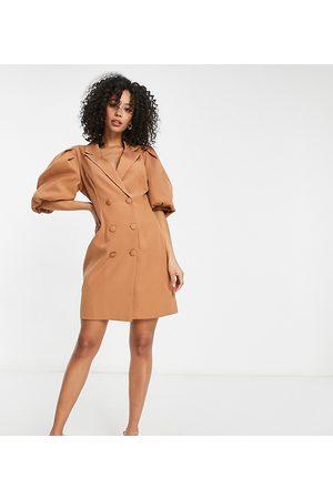 Missguided Vestito blazer con maniche a sbuffo color cammello-Cuoio
