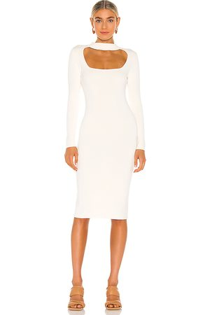 525 America Cut Out Mock Neck Dress in - Ivory. Size L (also in M, S, XS).