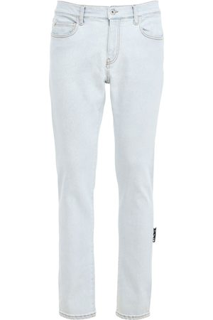 OFF-WHITE Diag Pocket Bleached Denim Skinny Jeans