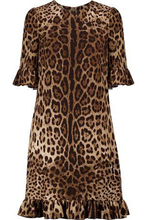 Dolce & Gabbana Miniabito a stampa leopardo in cady