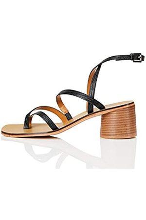 FIND FIND Strappy Round Heel Leather Sandali a Punta Aperta, , 37 EU